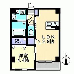 サンフォレスタ西古松 1階1LDKの間取り