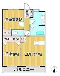Dearcortkawanami (ディアコートカワナミ)[3階]の間取り