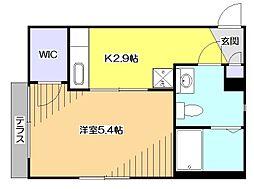 東京都東大和市向原5の賃貸アパートの間取り