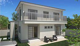外観:建物価格1600万円、建物面積99.14?。垂直と水平の連続が美しいモダンで重厚感ある住まい