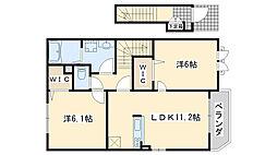 南海線 鳥取ノ荘駅 徒歩6分の賃貸アパート 2階2LDKの間取り