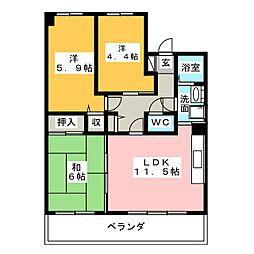 ライオンズマンション植田ヒルズイースト[10階]の間取り