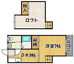 兵庫県明石市桜町の賃貸アパートの間取り
