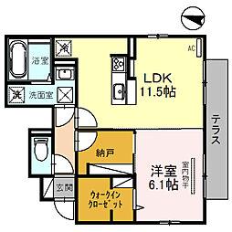 南海高野線 金剛駅 徒歩13分の賃貸アパート 1階1LDKの間取り
