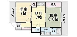 大阪府高石市綾園2丁目の賃貸マンションの間取り