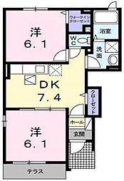 サニーサイドII[101号室]の間取り