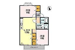 滋賀県守山市立入町の賃貸アパートの間取り