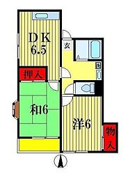 千葉県松戸市八ケ崎5丁目の賃貸アパートの間取り