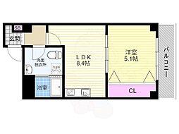 京都市営烏丸線 五条駅 徒歩7分の賃貸マンション 2階1LDKの間取り