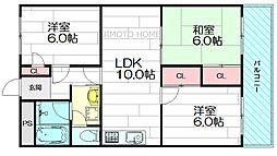 大阪府豊中市寺内2丁目の賃貸マンションの間取り