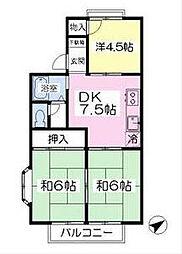 福岡県北九州市八幡西区割子川2丁目の賃貸アパートの間取り