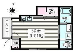 コーポAZUMA 1階ワンルームの間取り