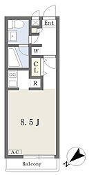 JR埼京線 南与野駅 バス15分 大泉院通り下車 徒歩5分の賃貸マンション 2階ワンルームの間取り