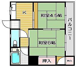 大阪府茨木市耳原2丁目の賃貸アパートの間取り