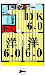 東京都足立区本木2丁目の賃貸アパートの間取り