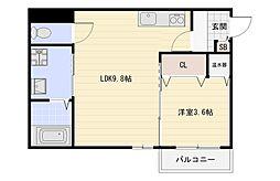 JR関西本線 平野駅 徒歩12分の賃貸アパート 2階1LDKの間取り