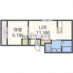 LUCY HOUSE[ルーシーハウス] 2階1LDKの間取り