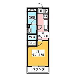 I's岐阜駅前 3階1Kの間取り