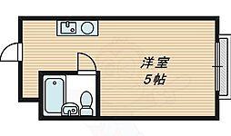 昭和グランドハイツ桜ノ宮 2階ワンルームの間取り