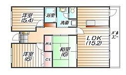パストラル三田[3階]の間取り