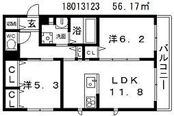 大阪府大阪市西成区玉出東2丁目の賃貸マンションの間取り