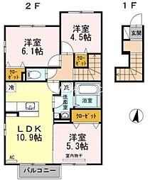 クレール B棟[2階]の間取り