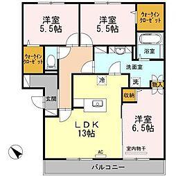 ファミーユ スクエアー A棟[3階]の間取り