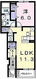 スペーシアII号館[1階]の間取り