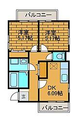 フラット百合ヶ丘[2階]の間取り