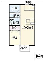 レセンテA[2階]の間取り