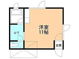 SKハイツ清田 1階ワンルームの間取り