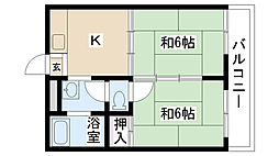 MJハイツ東別府(旧 ユーハイム)[201号室]の間取り