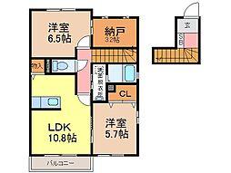 静岡県富士市松岡の賃貸アパートの間取り