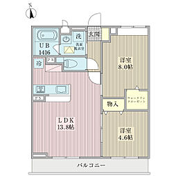 レスペオータム 2階2LDKの間取り