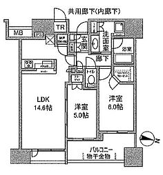 シティタワー梅田東(CITY TOWER UMEDA HIGASHI) 7階2LDKの間取り