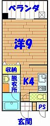 沖縄県国頭郡金武町金武4222番地の賃貸アパート 3階1Kの間取り