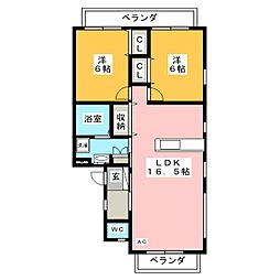 シャルマン戸崎[2階]の間取り