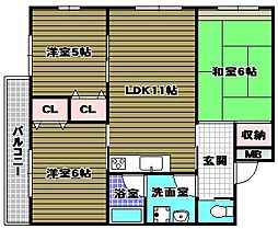 ステーション小谷 2階3LDKの間取り