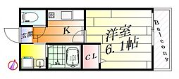 大阪府摂津市正雀本町2丁目の賃貸マンションの間取り