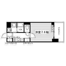 名古屋市営鶴舞線 原駅 徒歩3分の賃貸マンション 7階1Kの間取り