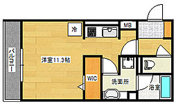 (仮)D-room段原日出2丁目 1階ワンルームの間取り