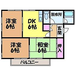 愛媛県松山市北土居4丁目の賃貸アパートの間取り