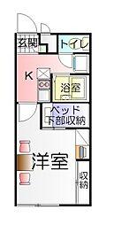 茨城県つくば市上横場の賃貸アパートの間取り