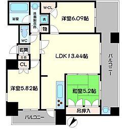 メロディースクエア古川橋ステーションアベニュー[5階]の間取り