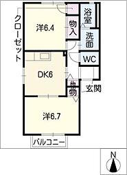 シャンテ新町 B[2階]の間取り