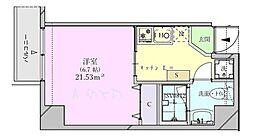 ビットビル壺屋 6階1Kの間取り