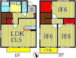 [テラスハウス] 千葉県柏市小青田2丁目 の賃貸【千葉県 / 柏市】の間取り