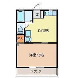 愛日ハイツ中島田[A102号室]の間取り