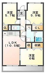 兵庫県加西市北条町横尾の賃貸マンションの間取り