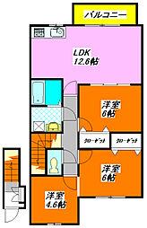 ジェイド・エフ・エイ 205号室[2階]の間取り